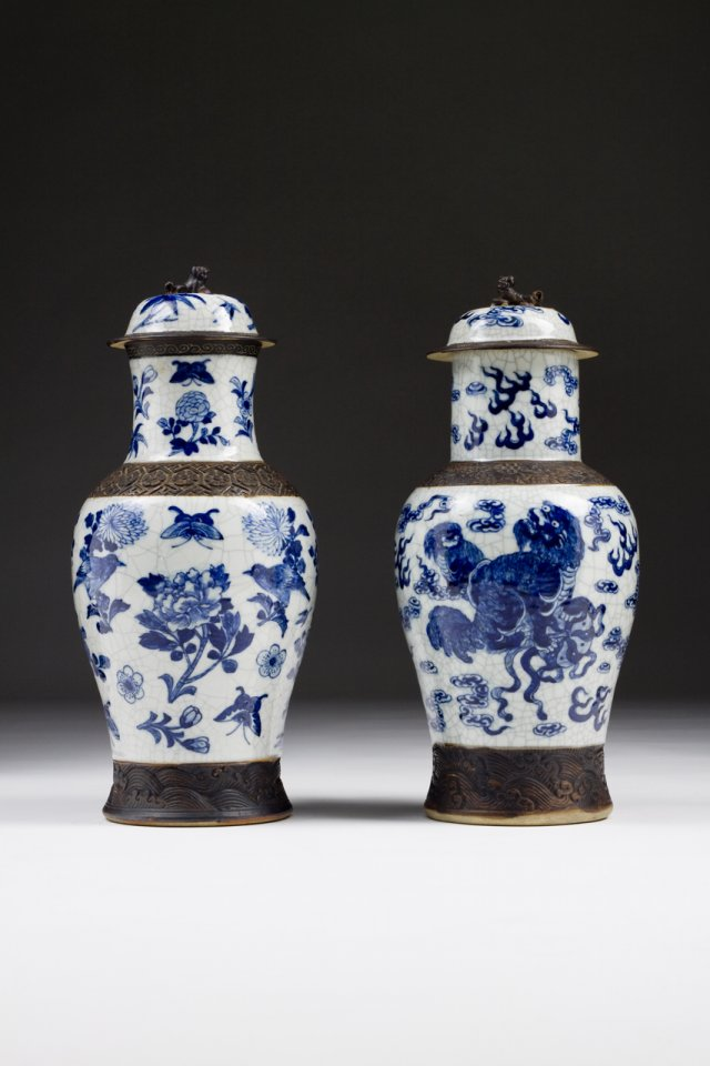 Pair of vases with lid