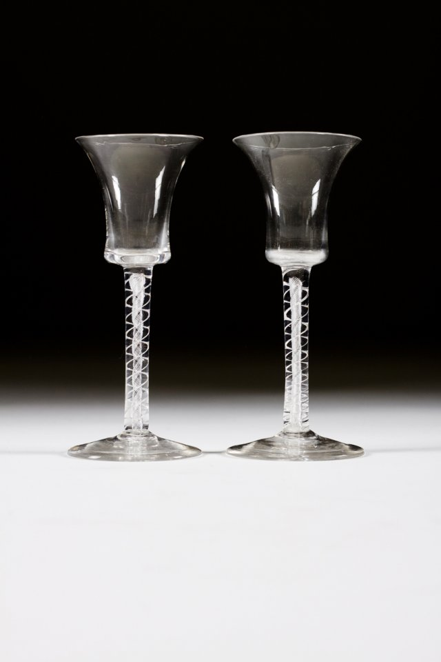 A pair of 17h century glass spiral chalices