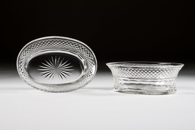 Pair of cut-glass bowls