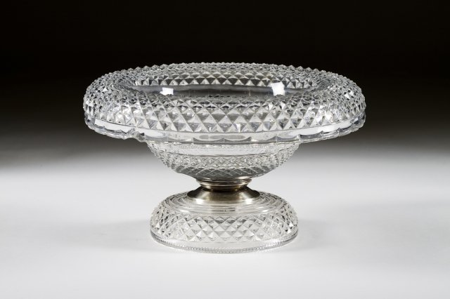 A 19th century cut-glass tazza
