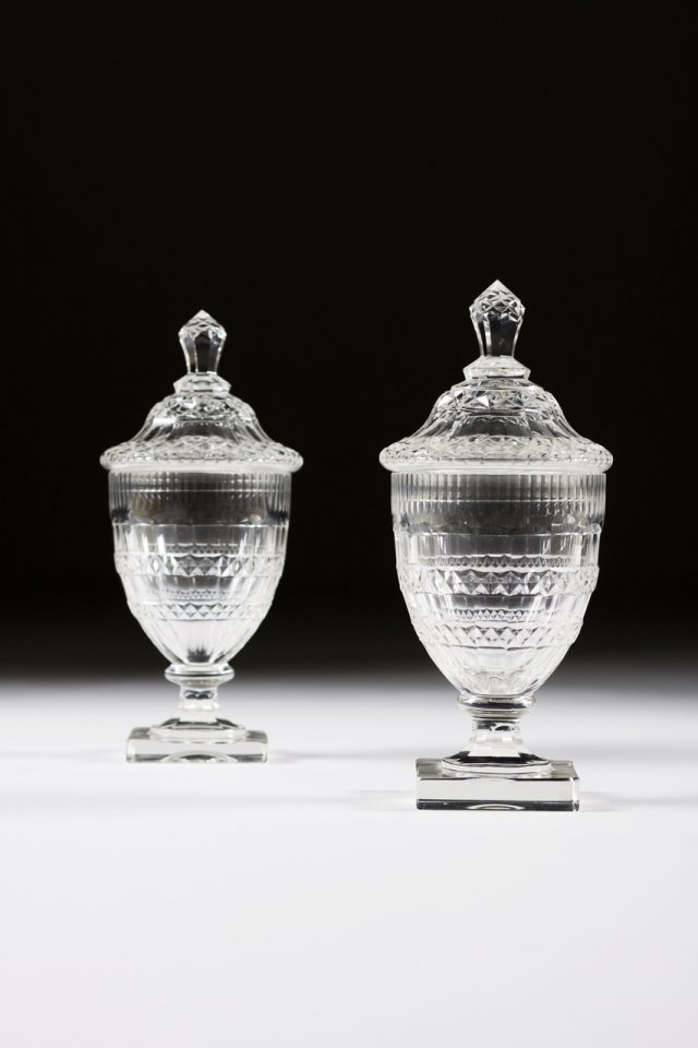 A pair of 18th century cut-glass bowls