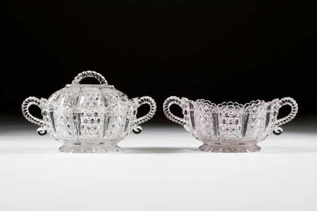 Two 19th century cut-glass bowls