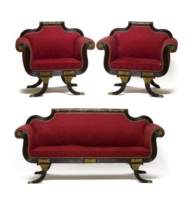A Regency style set of settee and two large armchairs