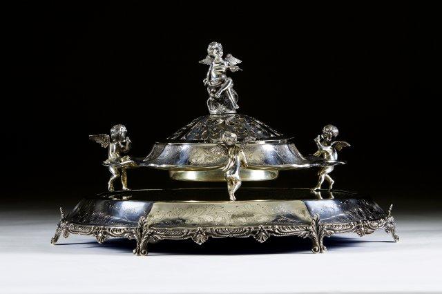 Centro de mesa anjinhos em prata portuguesa