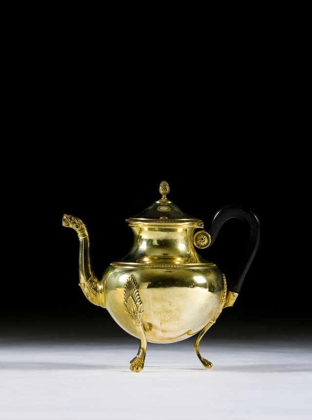 A 19th century Odiot silver-gilt tea-pot