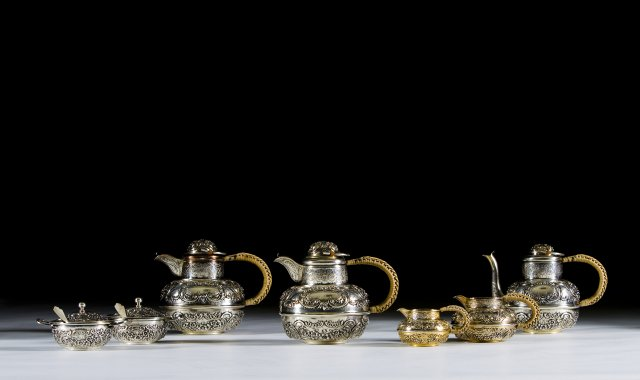 An extensive portuguese silver coffee and tea set