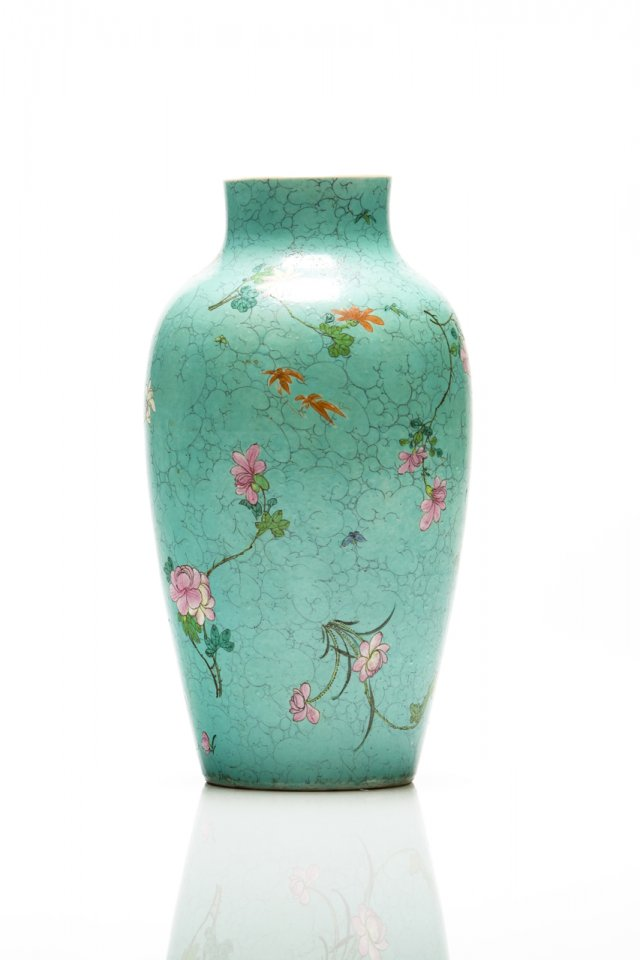 Raríssimo vaso turquoise-ground