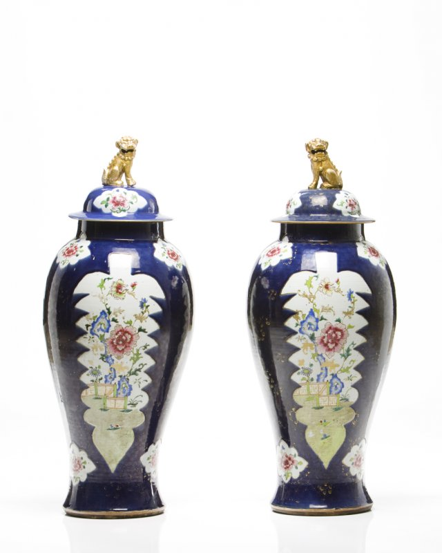 Pair of large baluster vases and covers