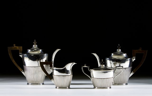 A portuguese silver coffee and tea set