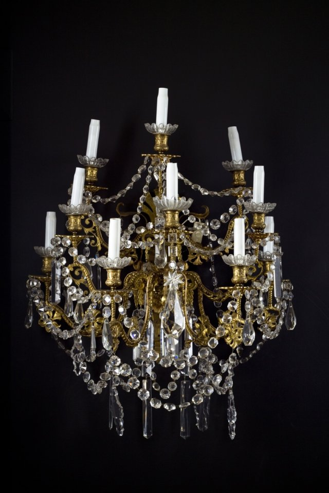 A pair of ormolu wall-lights