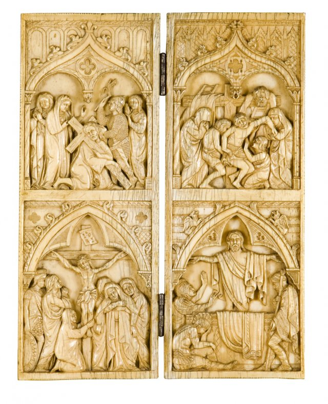A 19th century carved ivory diptych