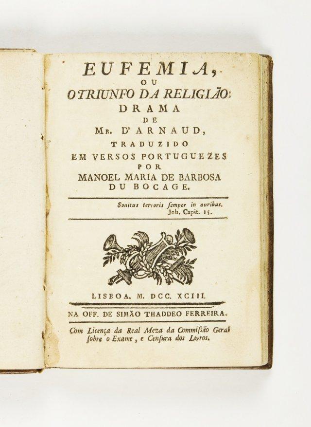 ARNAUD, François Thomas Marie de Baculard de, 1718-1805 ; BOCAGE, Manuel Maria Barbosa du, 1765-1805, (trad.)