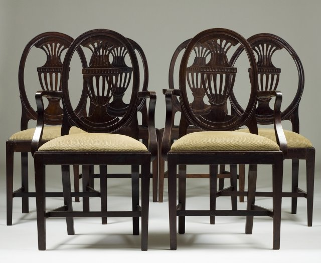Set of four chairs and two armchairs