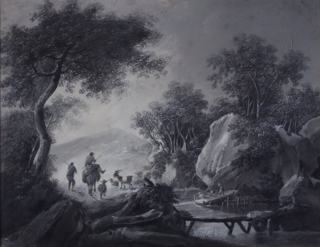 Bucolic scene with figures and animals