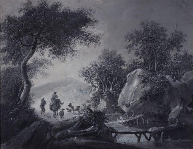Cena bucólica com figuras e animais