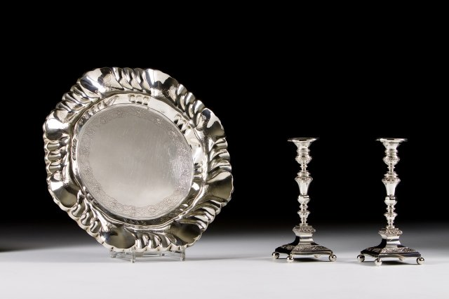 Pair of 19th century silver candlesticks