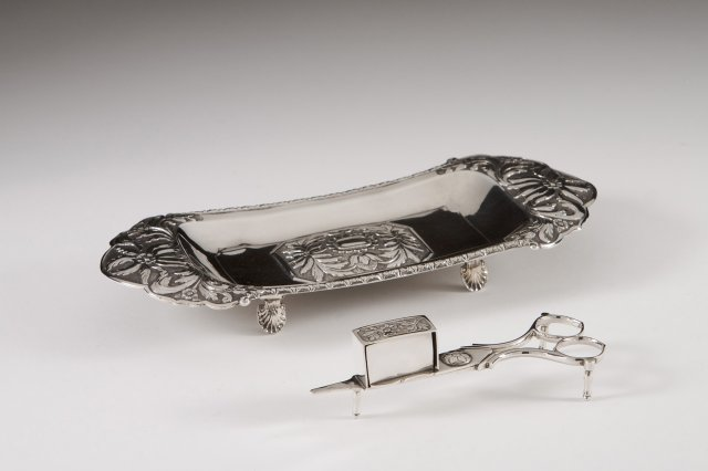 Silver snuffer and snuffer tray
