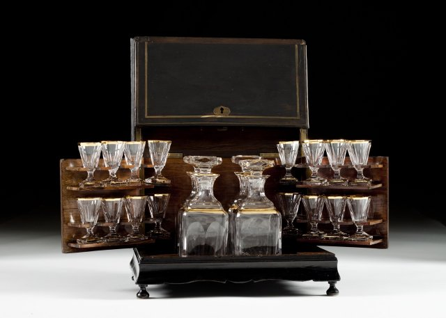 A Napoleon III liquor set with box.