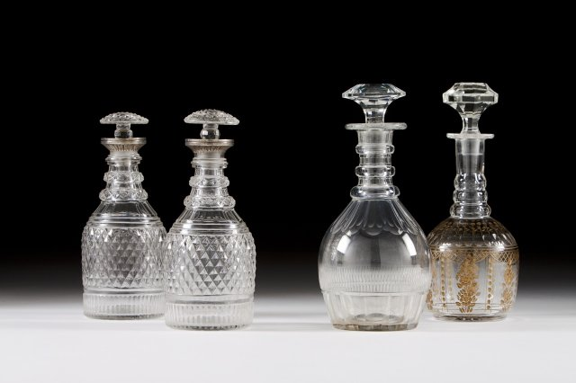 Two cut-glass decanters