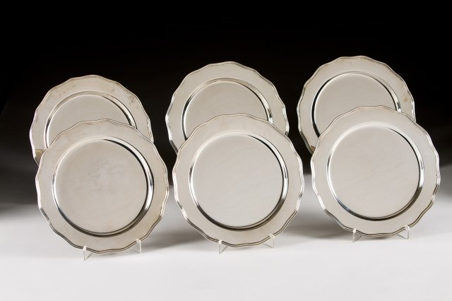 Six silver plates