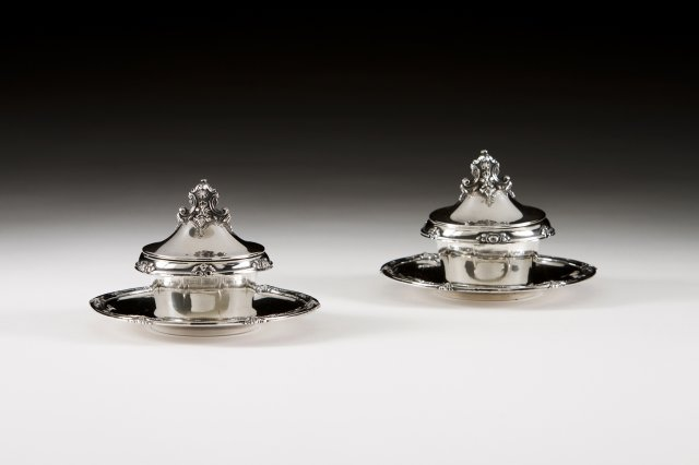 A pair of Portuguese silver mustard cellars