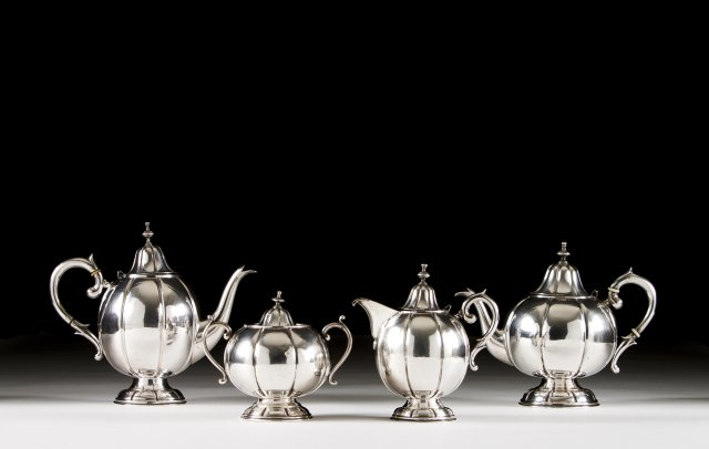A Portuguese silver coffee and tea set.