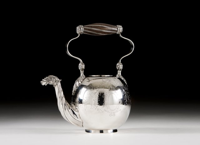 A Portuguese silver tea pot in the D.Maria (1777-1816) manner.