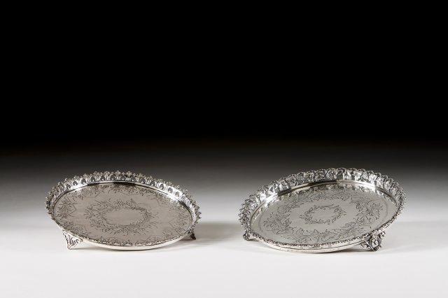 A Portuguese silver gallery salver.