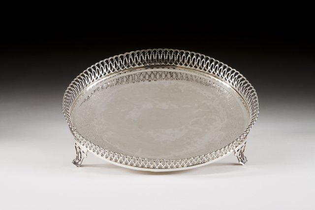A 19th century Portuguese silver gallery salve