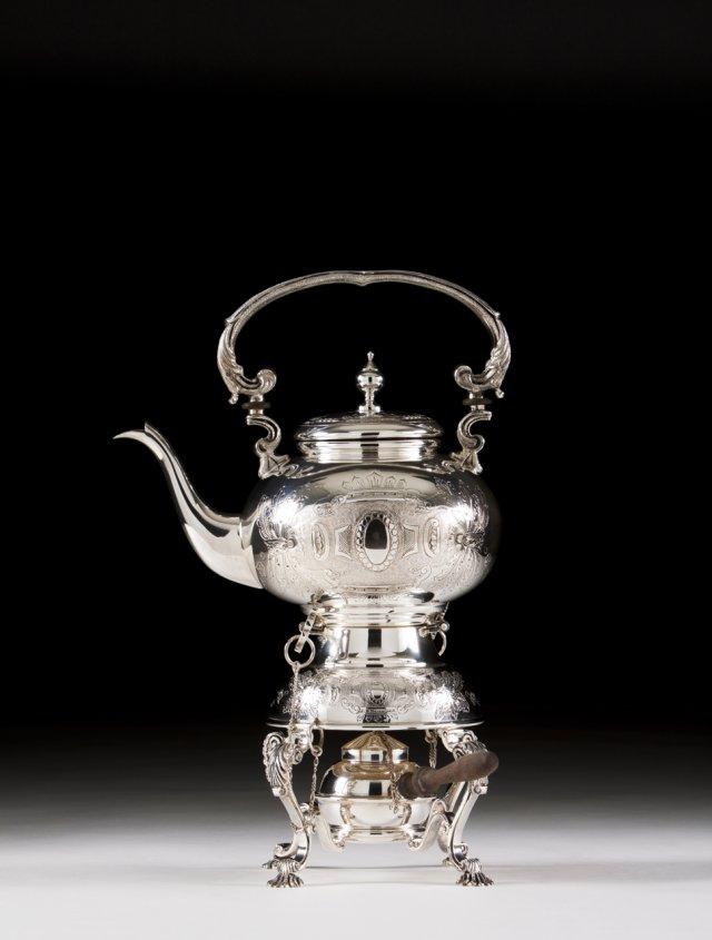 A Portuguese silver kettle