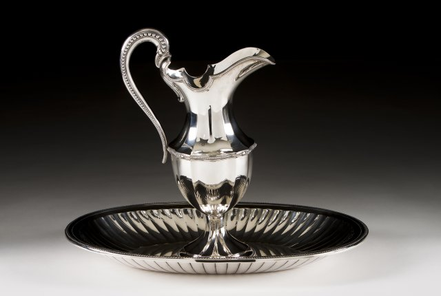 A Portuguese silver ewer and basin in the neoclassic manner