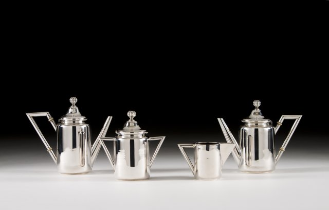 An Art Déco Portuguese silver coffee and tea set