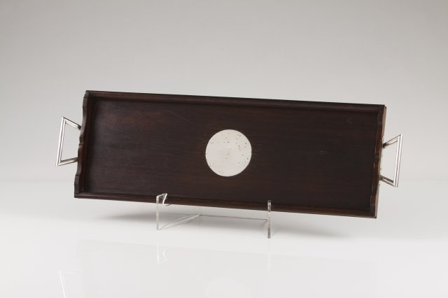 A silver mounted rosewood tray