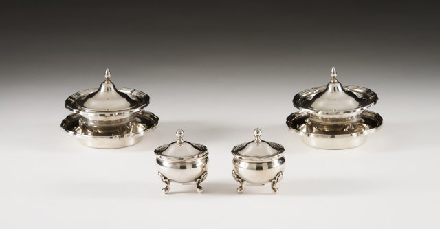 Two pairs of Portuguese silver mustard cellars and a pair of plates