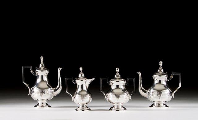 A Art Déco Portuguese silver coffee and tea set