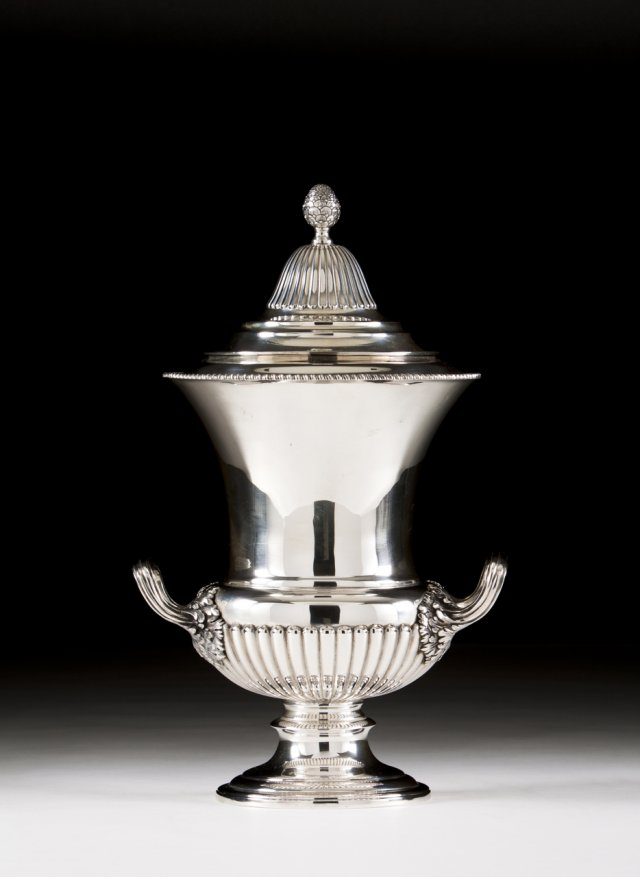 A Portuguese silver urn with cover.