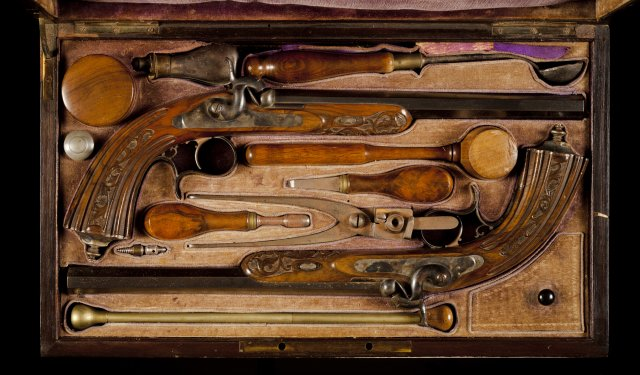 A cased pair of French percussion duelling pistols, by Gastinne-Renette