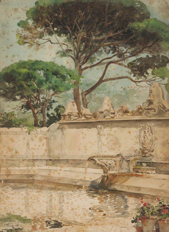 Vista de jardim com fonte