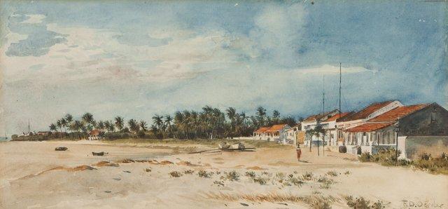 Vista de praia com casario, figura e palmeiras