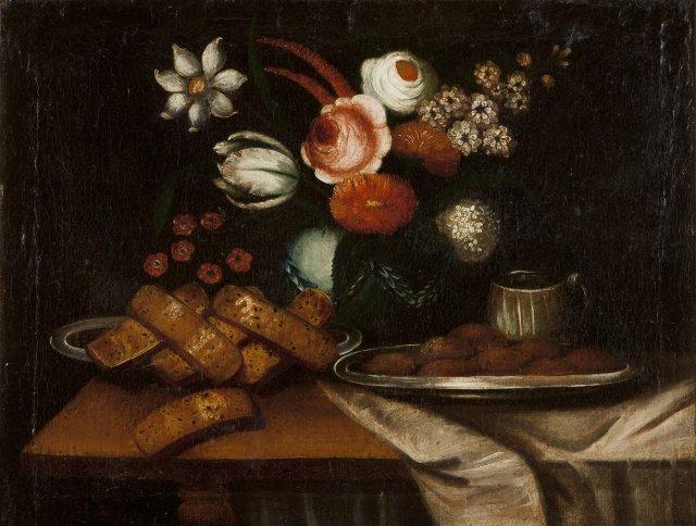 Naturezas mortas com flores e pão