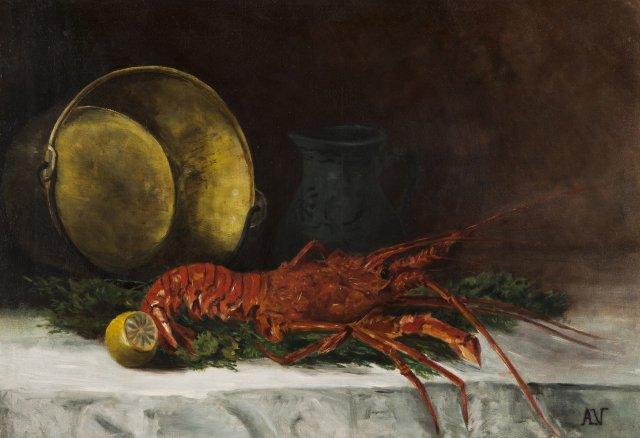 Natureza morta com lagosta e cobre
