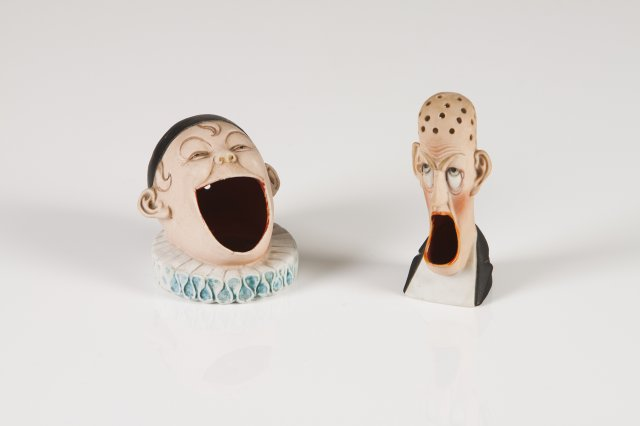 Two late 19th, early 20th century biscuit toothpick holders