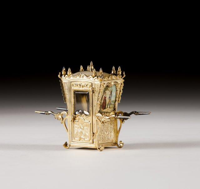 A miniature portuguese silver gilt coach
