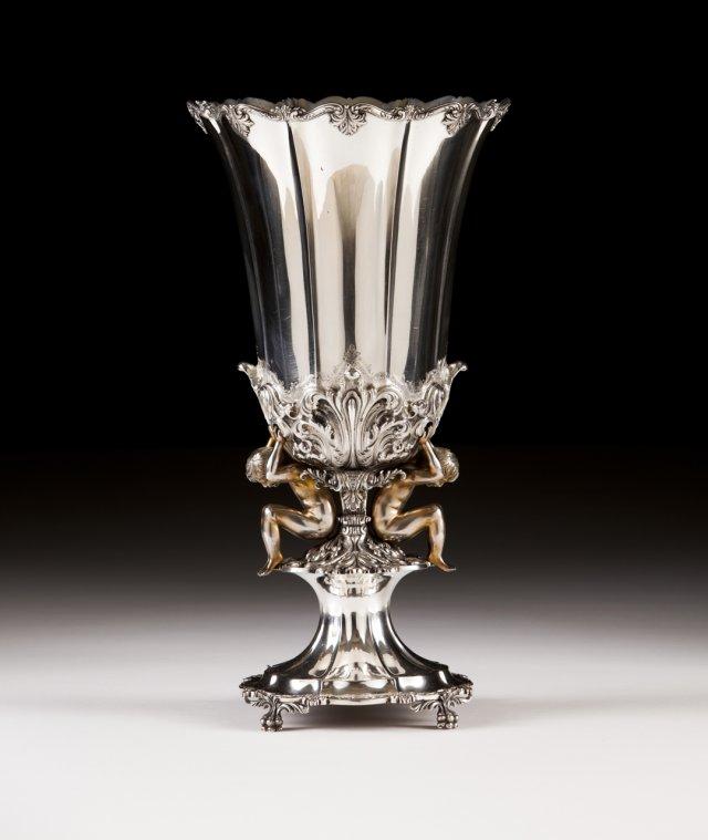 A large portuguese silver flower vase