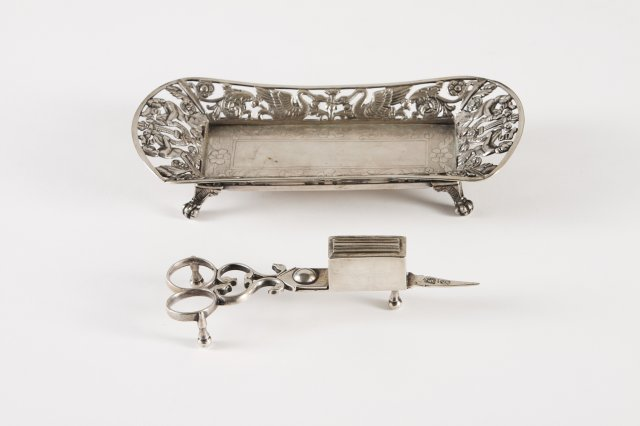 A 19th century portuguese silver snuffers with snuffers tray