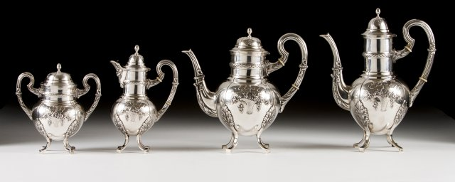 A late 19th, early 20th century portuguese silver coffee and tea set