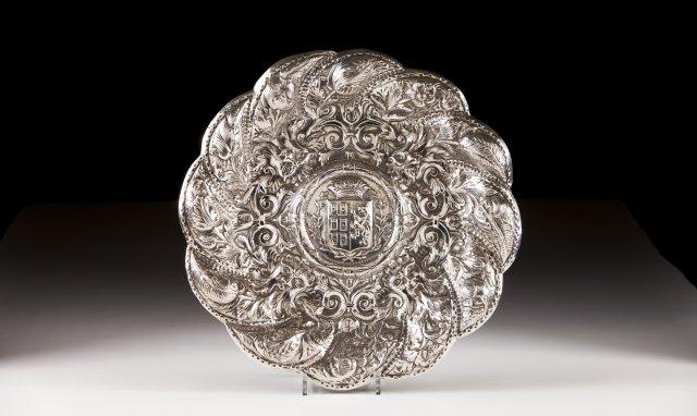 A 19th century Armorial portuguese silver salver