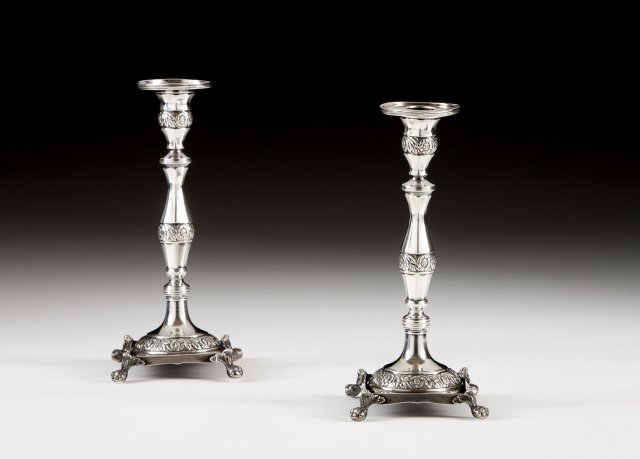 A pair of 19th century portuguese silver candlesticks