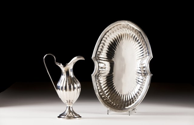 A 19th century portuguese silver ewer and basin