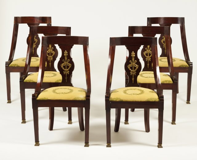 A set of 6 bronze-mounted mahogany chairs in the Empire manner